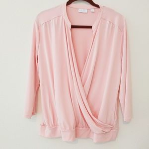 New York and Co. Pink drape front top. Size XL